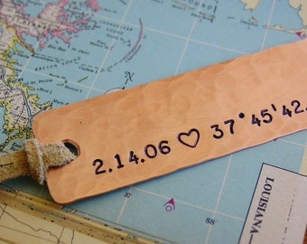Latitude Longitude,Personalized Bookmark,Anniversary Gift,Mens Gift,Wife,Hand Stamped,7th Anniversary,Copper Anniversary,Unique Bookmarks