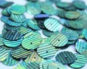 75 Metallic Bluish Green Color/ Round sequins/line texture/KBRS092