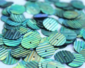 75 Metallic Bluish Green Color/ Round sequins/line texture/KBRS092