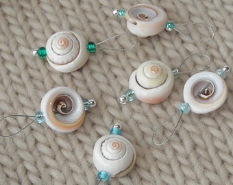 Seashell Knitting Stitch Markers - snag free loop markers - seashell beads - set of 6 - large loop size fits needles up to US 13