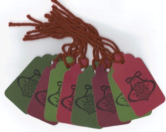 CLEARANCE / Christmas Bells Hand Stamped Large Scallop Die Cut Hang Tags (Set of 8) Favor Tags / Ready To Ship