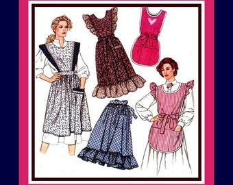 Vintage 1989-MAMA MIA APRON- Collection-Sewing Pattern-Five Styles-Bias Binding-Lace Trim- Ruffles-Pockets-Uncut- All Sizes- Rare