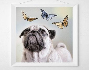 PLAY WITH ME Dog Art Print. Art for a child's room or nursery, kids room, playroom art.