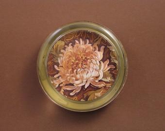 Chrysanthemum Floral Round Crystal Paperweight November Birthday