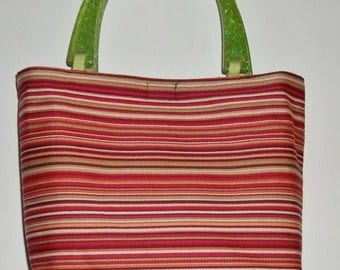Red and Green Stripe  Holiday Purse   Great Gift  Tote Bag Vacation Travel Great as Gift Basket When You Stuff It