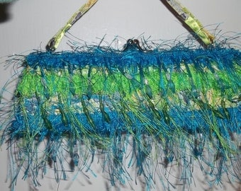 Teal and Lime Green Fringe with Beaded Accents Clutch Purse   Handbag Formal  Prom Homecoming New Years Eve  Great Gift