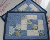 Quilted Patchwork Mug Rugs Set of 2 Blue White Floral
