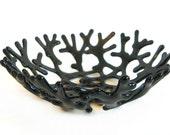 Black Coral Bowl in Sculptural Transparent Art Glass