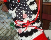 Retro Crochet Christmas Ribbed Stocking/Christmas Decoration/Christmas Ornament/Black-Red-White/Great for Stuffing/Handmade/Jingle Bells