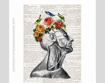 POETIC ANATOMICAL HEAD wall decor art print Surreal Human Anatomy illustration on vintage dictionary book page Romantic Roses Birds 8x10,5x7