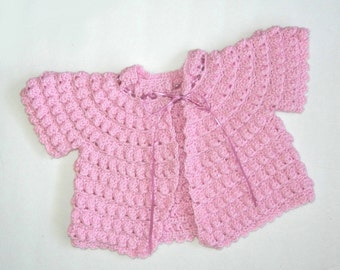 ON SALE: 25% off Rose ruffled short-sleeve sweater for baby girl 6-12 months - made from vintage 1940s pattern