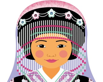 Hmong Girl Matryoshka Art Print, Kids Wall Art