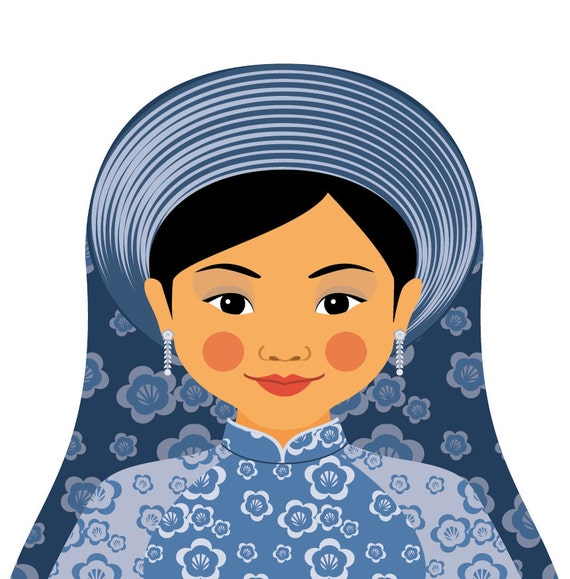Vietnamese Water Wall Art Print featuring traditional dress drawn in a Russian matryoshka nesting doll shape