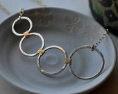 Silver and Gold combo 4 circle ring Necklace
