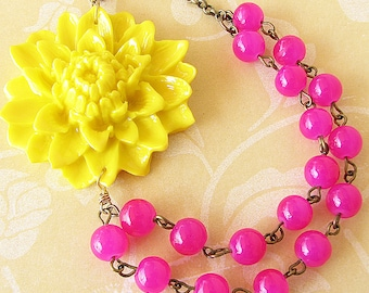 Statement Necklace Flower Necklace Beaded Necklace Fuchsia Jewelry Yellow Necklace Bridesmaid Jewelry Gift For Her
