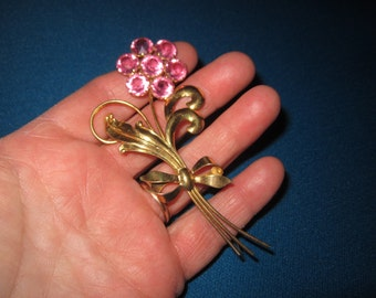 Vintage Large Sterling Silver Vermeil and Pink Rhinestone Flower Brooch