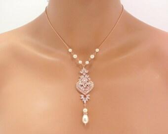 Rose Gold Bridal necklace, Crystal wedding necklace, Bridal jewelry, Pearl necklace, Rose Gold jewelry, Rose Gold, Art Deco necklace, EMMA