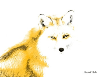 Sly Yellow Fox Art, Abstract Realism, Southwestern Home Decor, Native American Totem Animal, Woodland Wall Hanging, Giclee Print, 8 x 10