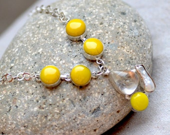 Yellow Sterling Silver Necklace. SALE. Rutilated Quartz - Howlite - Keishi Pearls Gemstone Necklace. Silversmith Necklace. Fine jewelry.