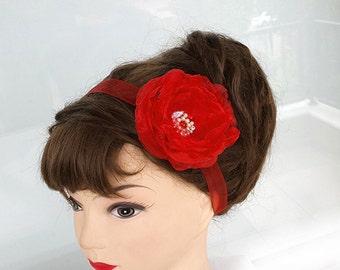Red Flower headband, Wedding Headband, Bridal Sash or Headband, Garter, Adjustable with Ribbon-OOAK
