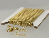 raw Brass Ball Chain Bulk, 32 ft. spool of FACET micro ball chain - 1.2mm ball w/ FREE 20 connectors (Insert type)