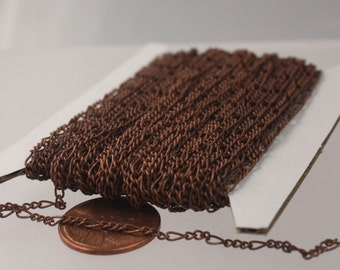 10 feet Antique Copper FIGARO Chain Bulk Chain - 2x4.5mm SOLDER Link, Sturdy figaro chain - Necklace Bracelet Wholesale Chain