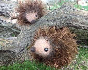 Hedgehog mama and baby plush toys, hedgehog toys, hand knit and felted stuffed animal hedgehogs, stuffed hedgehog toys, made to order
