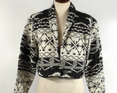 Southwestern Cotton Jacket Vintage 1980s Cropped Tribal Black and White Coat Blazer Women's M