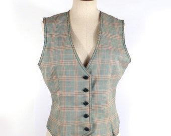 Plaid polyester Vest Vintage 1970s Green