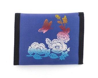 Butterfly Velcro Wallet Vintage 80s 1980s Flower Print Nylon