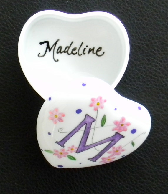 Porcelain Hand Painted Box heart shaped custom mongrammed personalized with personal sketch