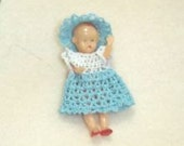 "tiny crocheted doll dress doll size 2""-2 1/2""  maybe bitty Hitty"