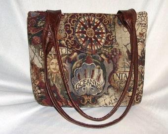 Purse Medium-Sized Shoulder Bag Flap Large Old World Map Tapestry Vinyl Double Straps Pockets