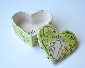 birth gift, baby gift, children's gift hand painted personalized ceramic heart box for christenings baptisms and first communion