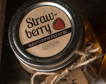 Strawberry Moonshine Labels set of 20 round 2 inch mason jar sticker labels kraft brown textured paper rustic country cottage vintage look