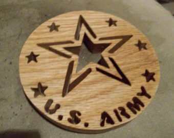 Wooden US Army wall hanging