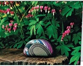 Bleeding Hearts Painted Rock Still Life Photo Note Cards with Envelopes, Set of 4, Blank, Folded, Unique Floral Design