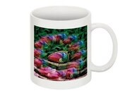 Coffee Mug with Beautiful Pink, Blue, and Green Floral Image on Both Sides, Gift for Her or Him, Great for Home or Office.