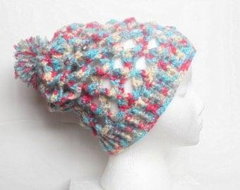 SALE, Slouchy Crochet Beanie Hat in Confetti, ready to ship.