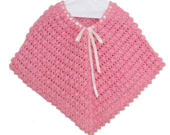 Pink Crochet Poncho for Baby Girl, Pink Poncho