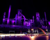 Bethlehem Steel at Night #2 - Fine Art Photograph - Silver Print, Grunge, Industrial Decay