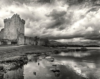 Stormy Ross Castle, 15th Century, Tower House Photo, National Park, Ireland Print, Black and White Photography Prints, Monochrome Art, Irish