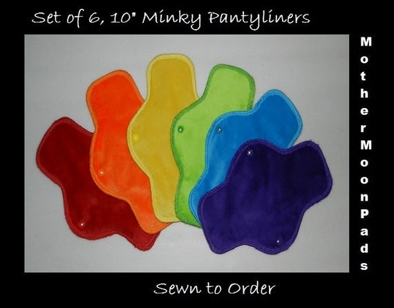 "RAINBOW Long Pantyliner Set - 6, 10"" Minky Liners by MotherMoonPads"