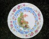 Vintage Broken China Mosaic Stepping Stone Beautiful Homer Garden Scene