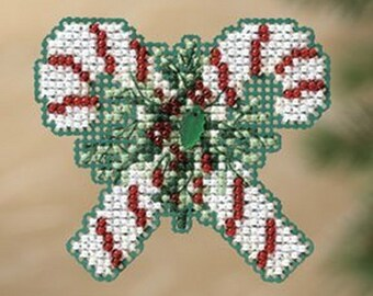 MILL HILL Winter Holiday Collection, Candy Canes MH18-1302 Christmas Ornament Counted Cross Stitch Kit