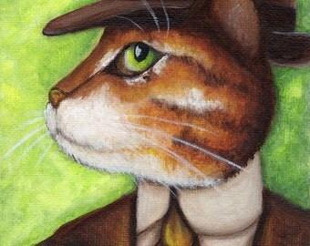 Nick Carraway Cat, Orange Tabby Cat Portrait Great Gatsby 5x7 Fine Art Print CLEARANCE
