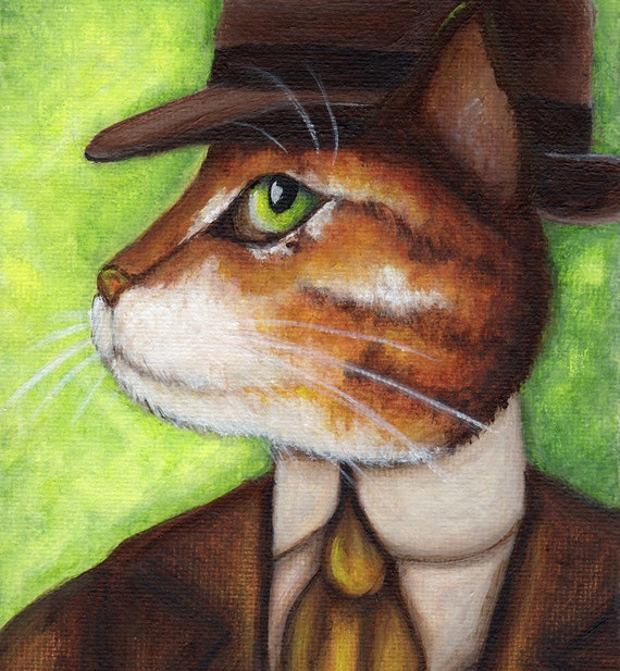Nick Carraway Cat, Orange Tabby Cat Portrait Great Gatsby 5x7 Fine Art Print CLEARANCE
