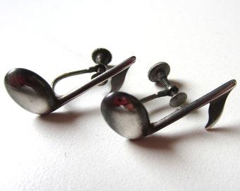 Musical Note Earrings by Beau - Sterling Silver