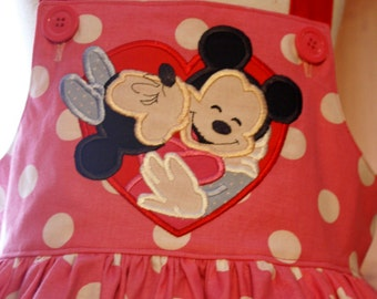 Disney Minnie Mickey Love Heart Valentine Pink Jumper Style Dress Ready to Ship size 7 available