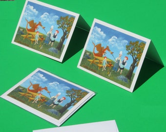 Dragon card picnic card raccoon card invitation cookout camp fire hot dogs party card blank card
